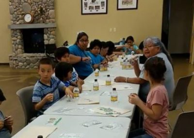 Towanits School Students Beading with Elders